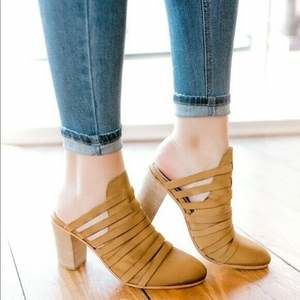 Free People Byron Strappy Mules Tan Leather Sz 38